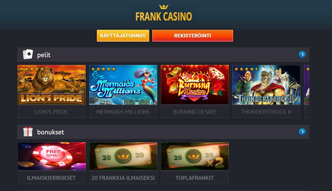 frank casino top win